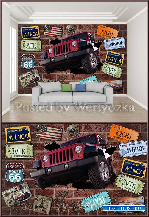3D psd background wall car brick wall