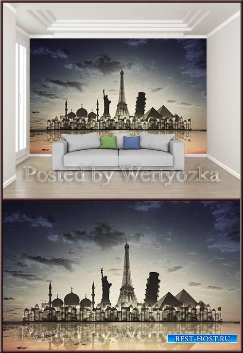 3D psd background wall beautiful city night