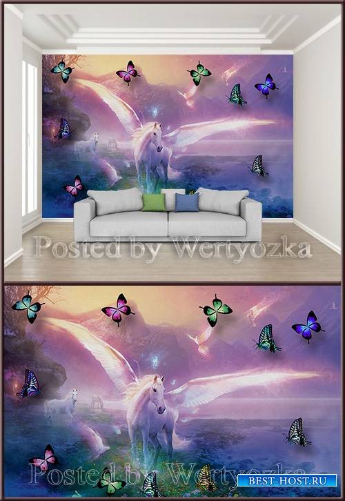 3D psd background wall fairy horse with wings