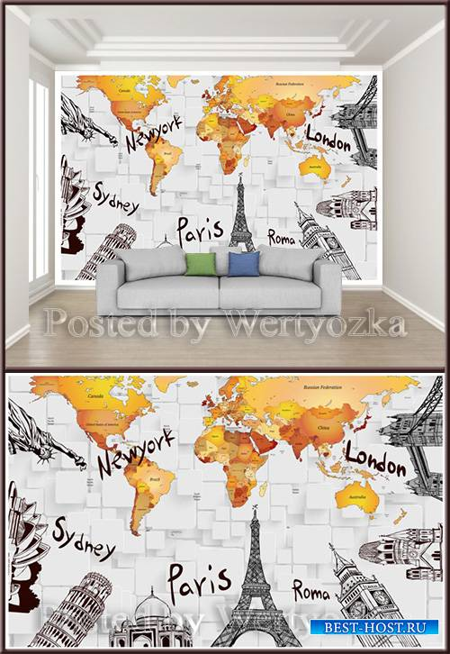 3D psd background wall countries of the world
