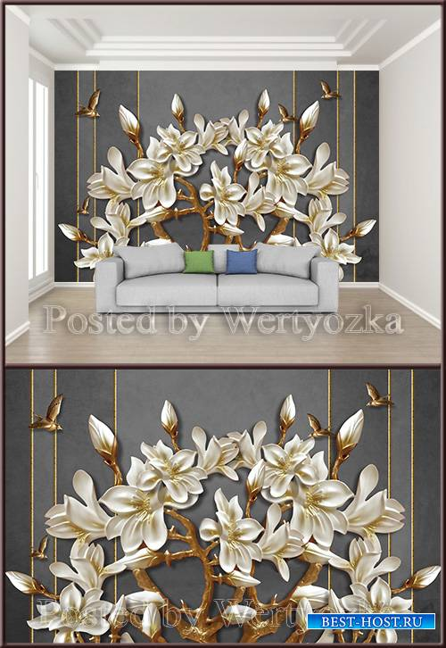 3D psd background wall white magnolia