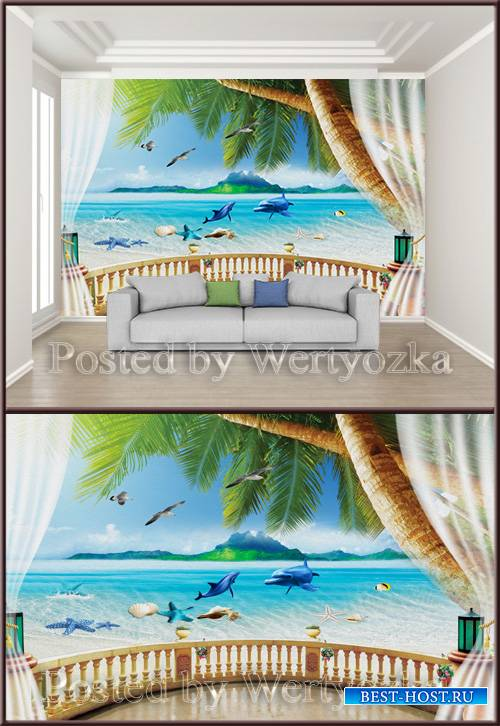 3D psd background wall sea view from the terrace