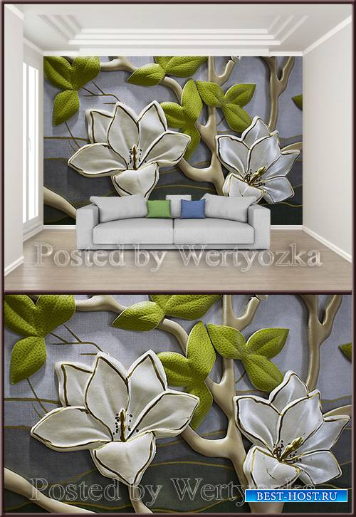 3D psd background wall three dimensional orchid