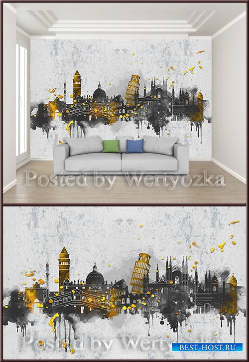 3D psd background wall watercolor european city architecture