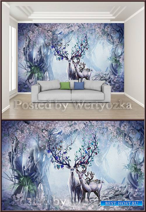 3D psd background wall nordic forest elk