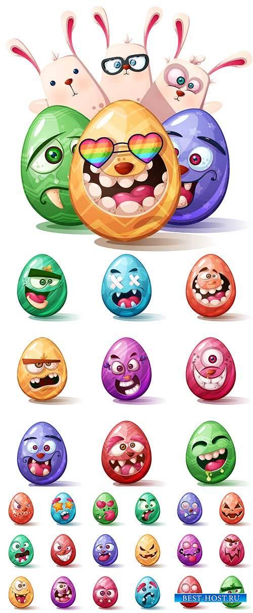 Смешные яйца в Пасхе - Векторный клипарт / Funny eggs in easter - Vector Gr ...