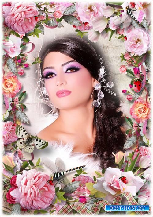Цветочная рамка для Фотошопа - Благоухающие розы