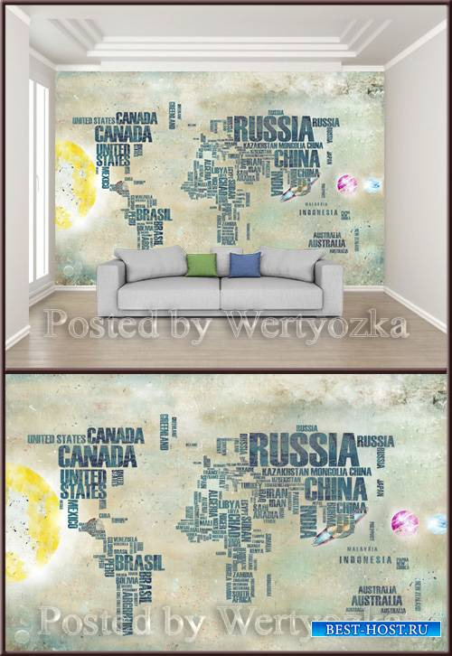 3D psd background wall modern alphabet world map