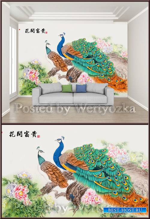 3D psd background wall chinese style ink hand painted meticulous flower