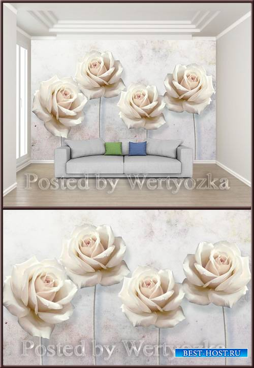 3D psd background wall minimalist embossed rose