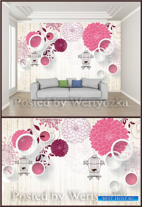 3D psd background wall fashion literary flower solid circle bird