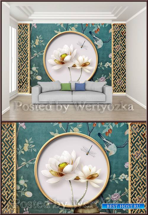 3D psd backgroundwall chinese classical metal openwork window lotus embosse ...