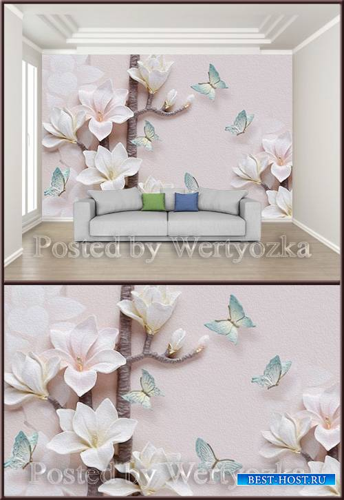 3D psd background wall magnolia flower embossed