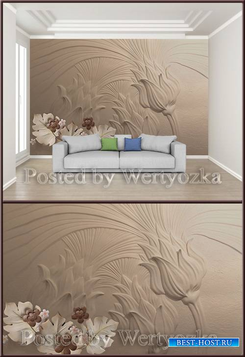3D psd background wall modern embossed floral