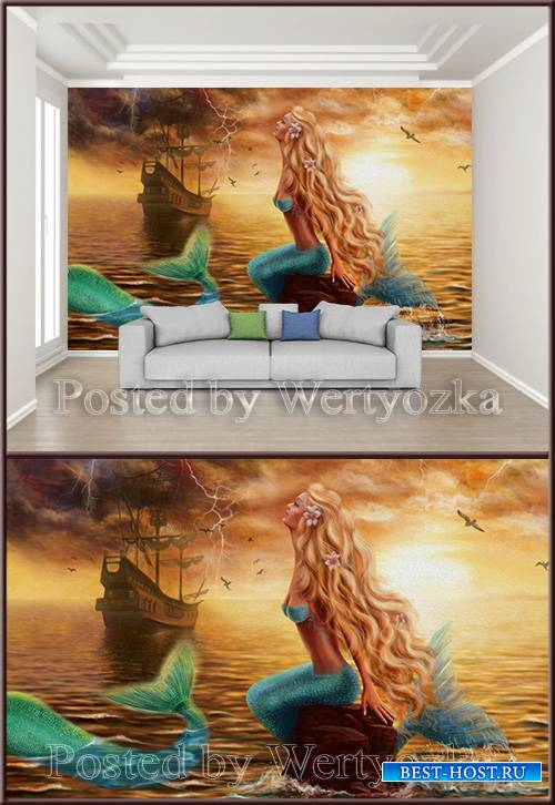 3D psd background wall beautiful sea beautiful sailing mermaid