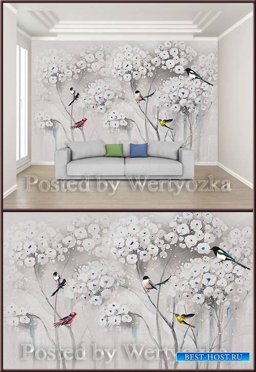 3D psd background wall beautiful flower bird