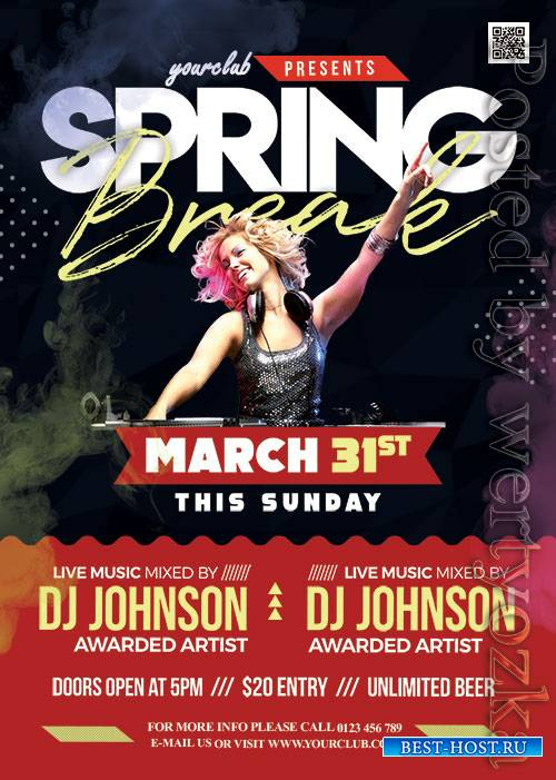 Spring Break Party - Premium flyer psd template