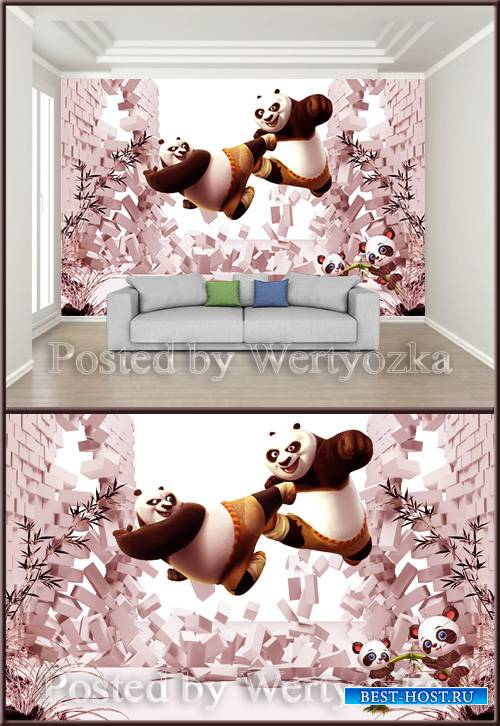 3D psd background wall panda wars