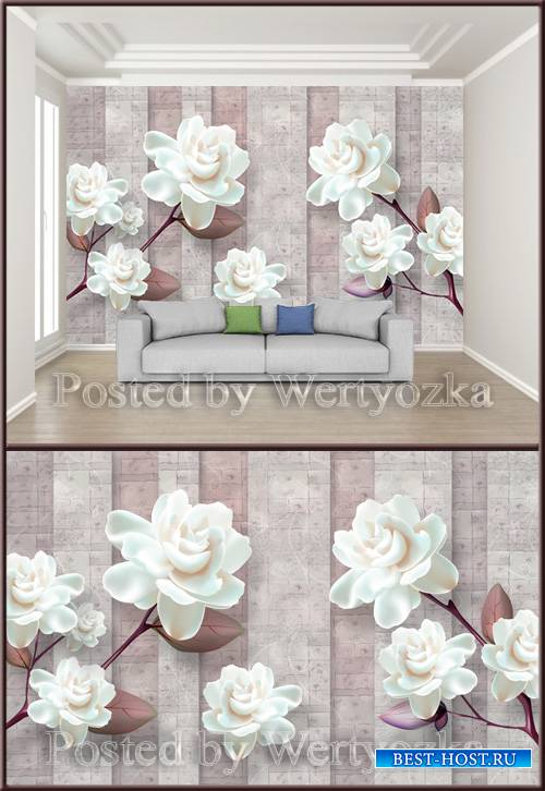 3D psd background wall three dimensional flower