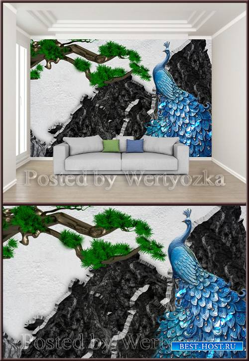 3D psd background wall mountain peak peacock ancient pine relief