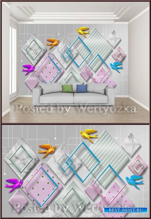 3D psd background wall geometric mosaic splicing bird