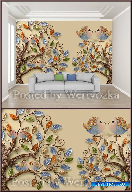 3D psd background wall beautiful leaves embossed bird