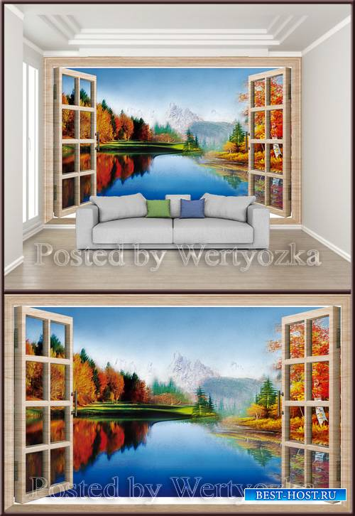 3D psd background wall beautiful landscape oil painting