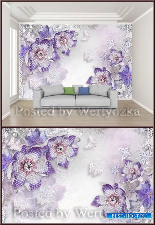 3D psd background wall beautiful jewelry diamond flower
