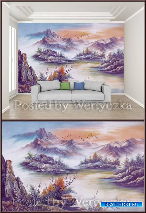 3D psd background wall beautiful artistic landscape