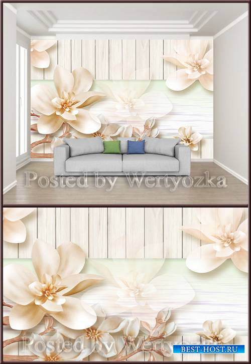 3D psd background wall three dimensional elegant flowers pale
