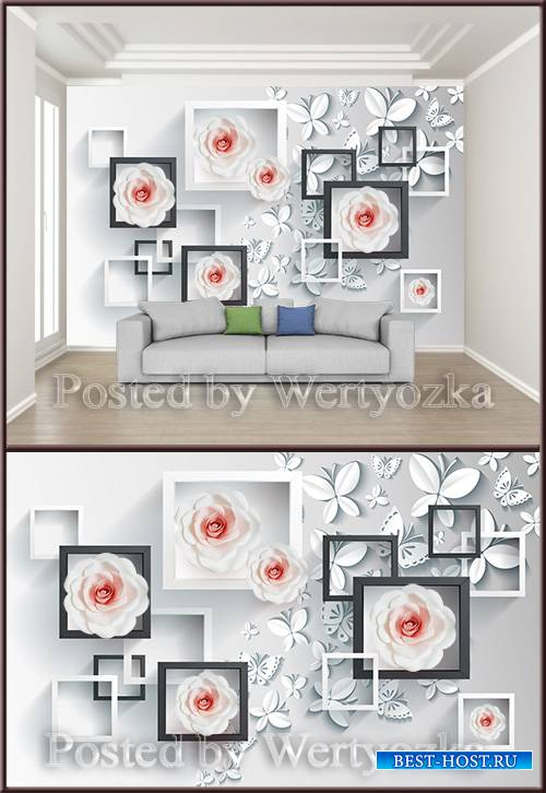 3D psd background wall stylish and simple stereo butterfly rose