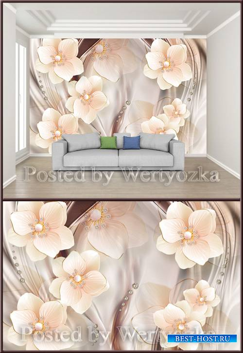 3D psd background wall romantic diamond pearl jewelry