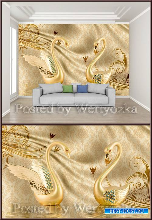 3D psd background wall luxury golden swan jewels satin