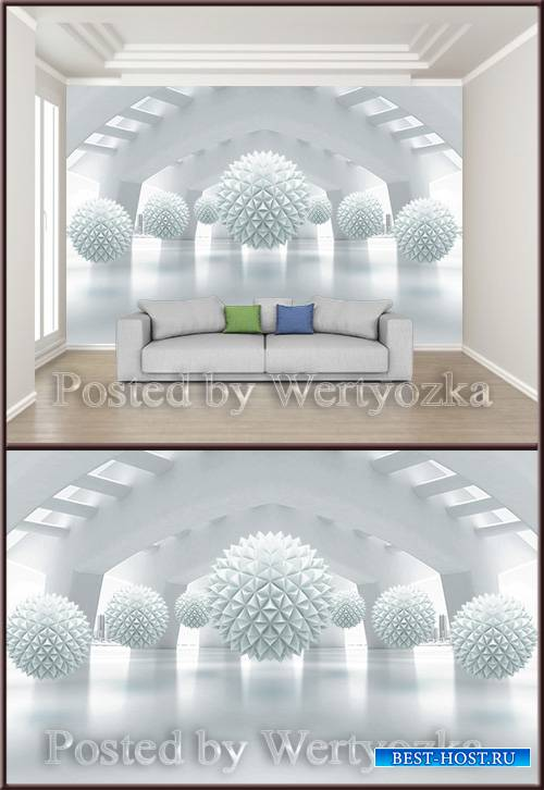 3D psd background wall creative three dimensional space ball