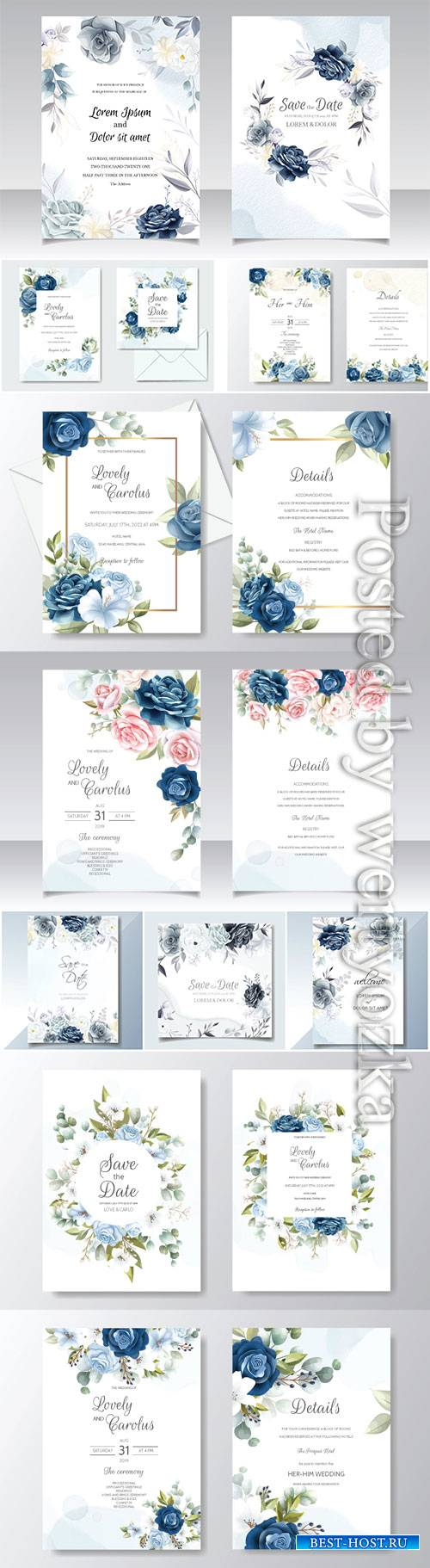 Wedding invitation card with with beautiful rose and green leaves template
