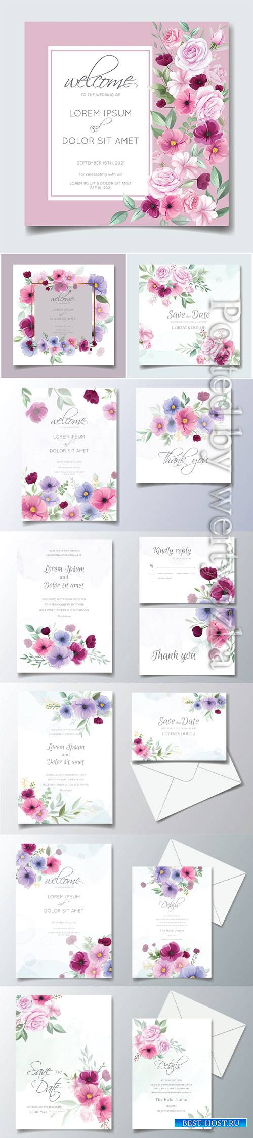 Colorful hand drawn floral wedding invitation card