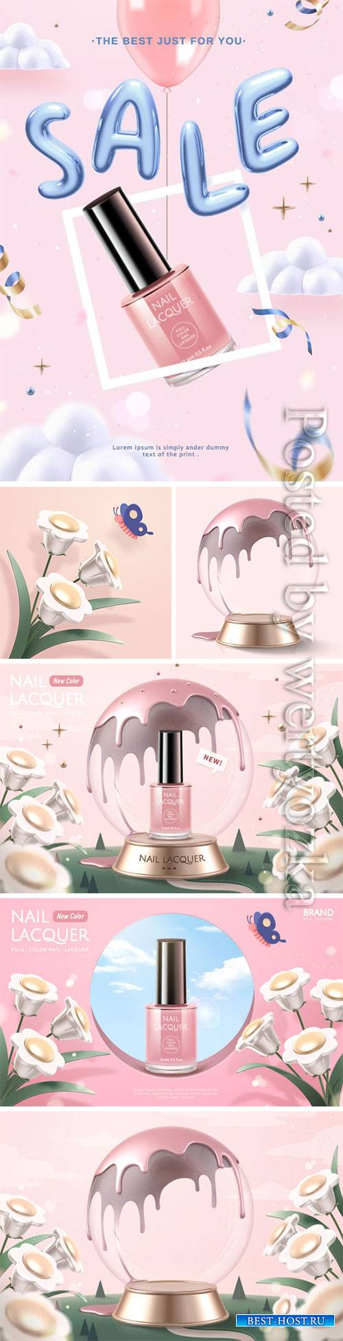 Cosmetics advertising vector posters, perfume, cream, nail polish # 4