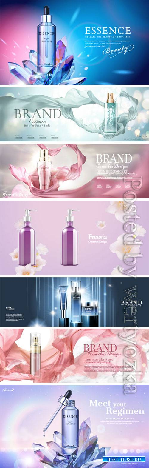 Cosmetics advertising vector posters, perfume, cream, nail polish # 3
