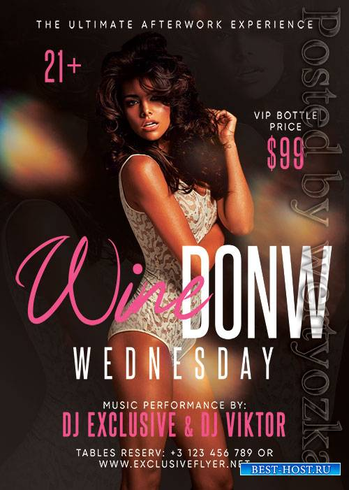 Wine down wednesday - Premium flyer psd template