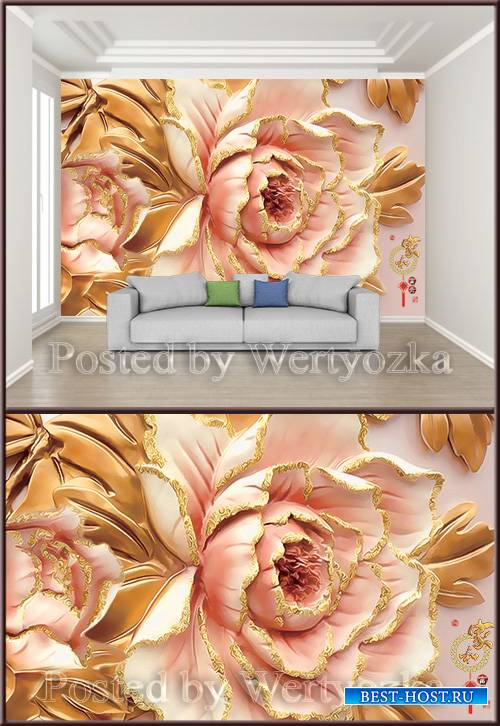 3D psd background wall peony flower luxury