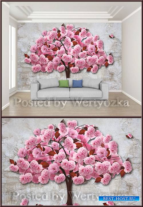 3D psd background wall romantic pink cherry