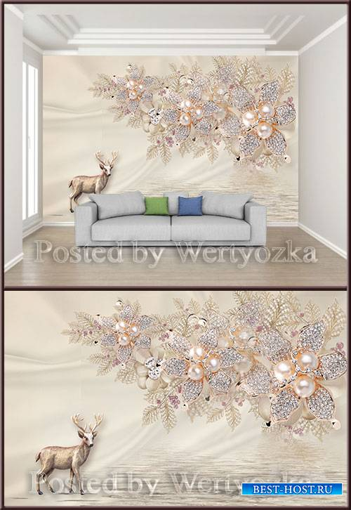 3D psd background wall pearl diamond jewels flowers elk