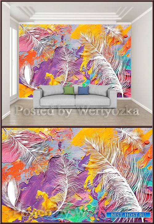3D psd background wall modern art oil color