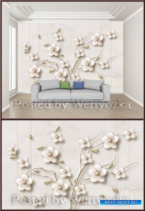 3D psd background wall fashion three dimensional flower