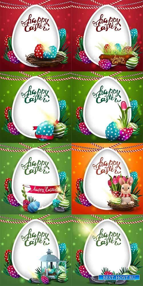 Поздравительные открытки к Пасхе в векторе 2 / Easter Greeting Cards in vec ...