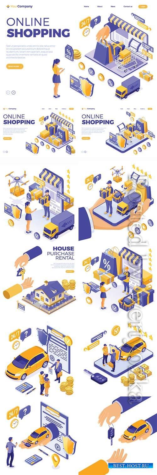 Isometric online internet shopping vector illustration