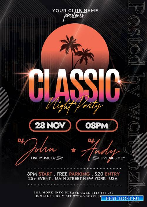 Classic Music Party - Premium flyer psd template