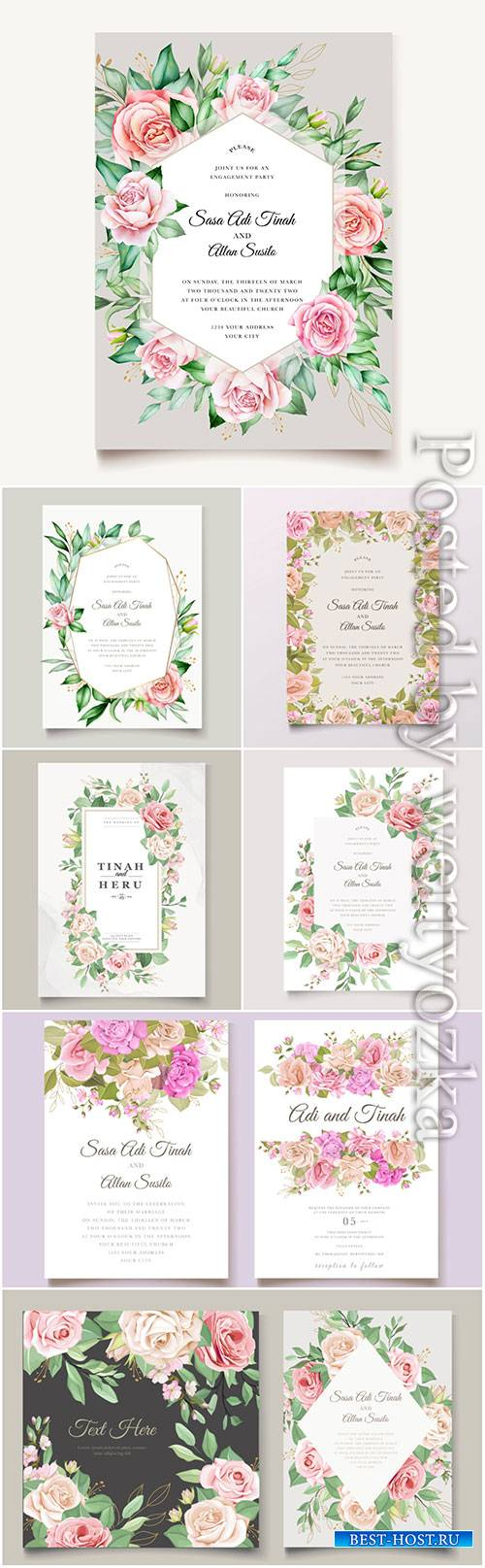 Beautiful wedding invitation with flowers in vector