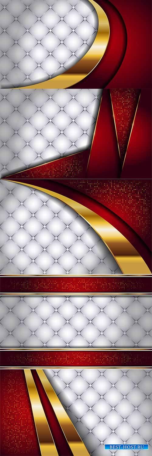 Бело-красные с золотом фоны в векторе