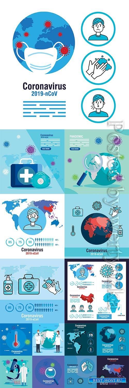 COVID 19, Coranavirus vector illustration sets # 13